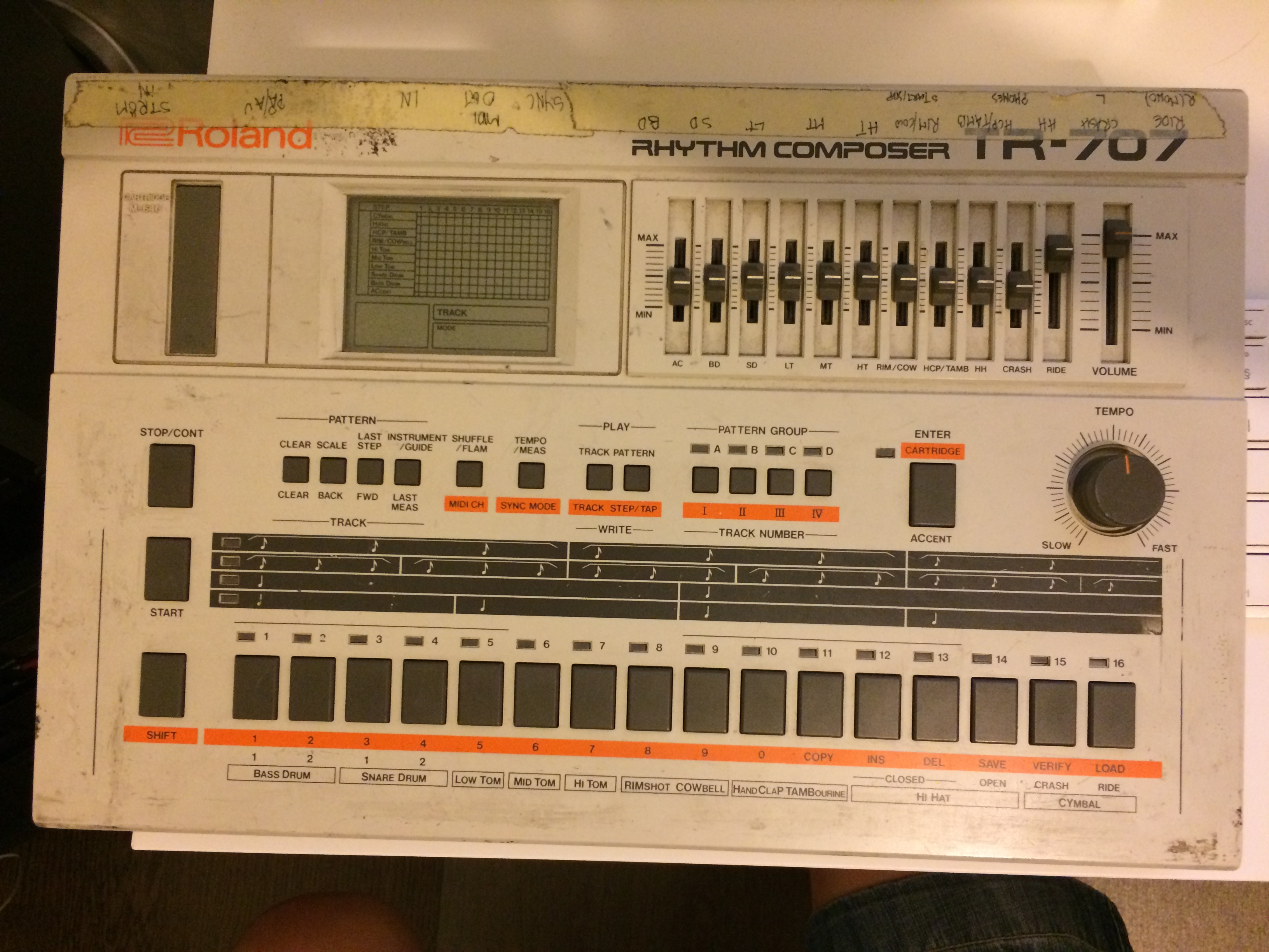 A quick phone snap of the Roland TR-707